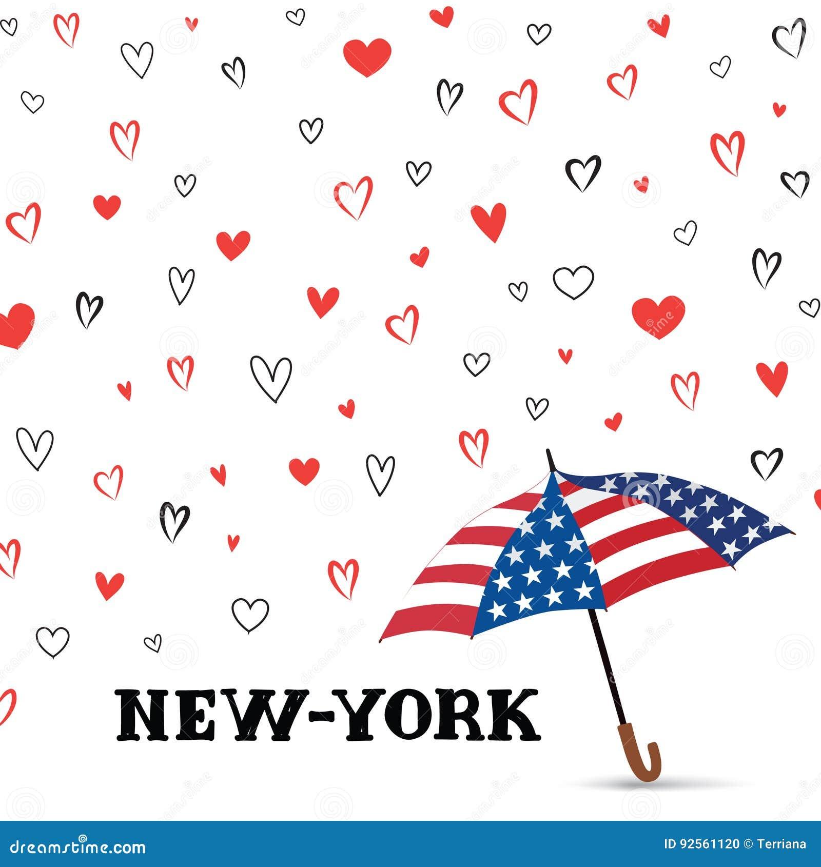 Fondo di U.S.A. di viaggio Modello di New York di amore Priorità bassa del cuore