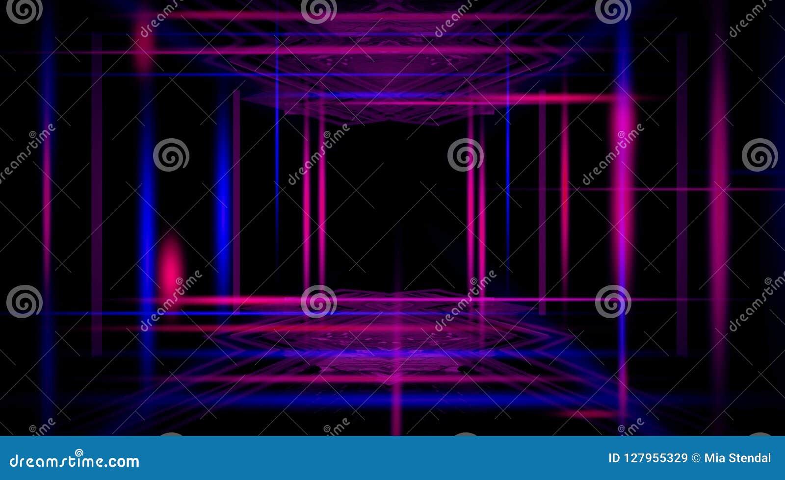 Fondo di un corridoio nero vuoto con luce al neon Fondo astratto con le linee e l incandescenza