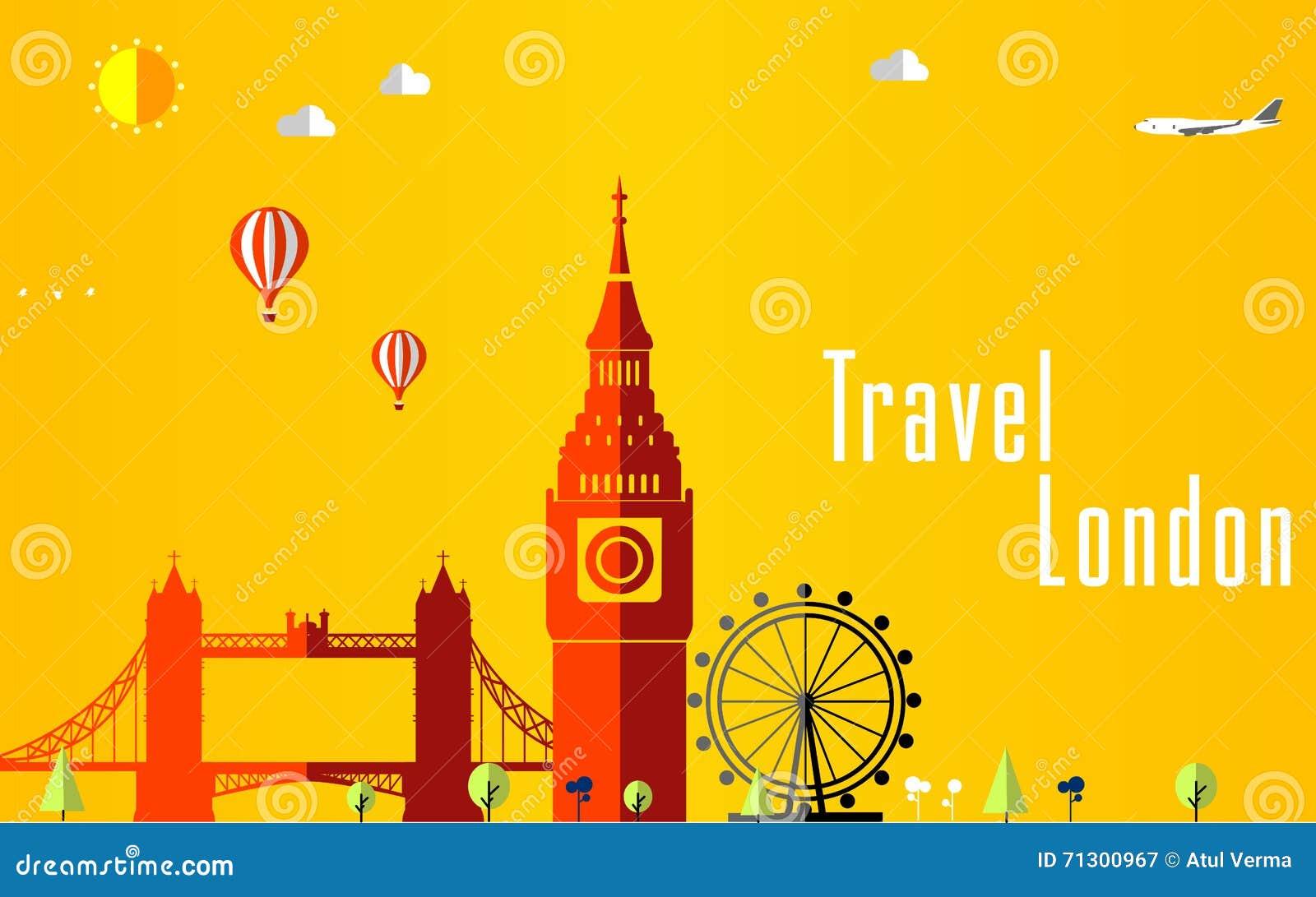 Fondo di voli e di viaggio per il turista, le feste e la vacanza, fondo di viaggio di Londra