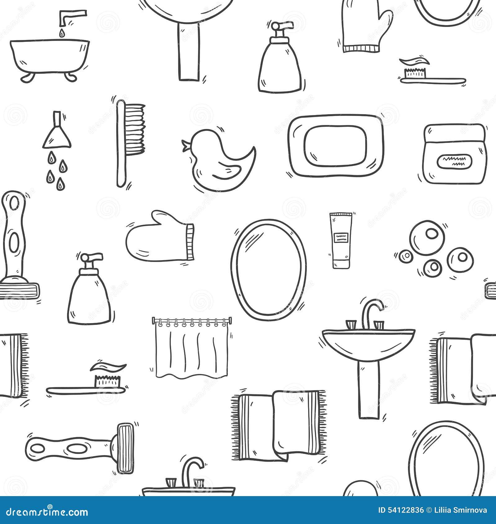Fondo dibujado mano incons til del cuarto de ba o for Elementos del bano