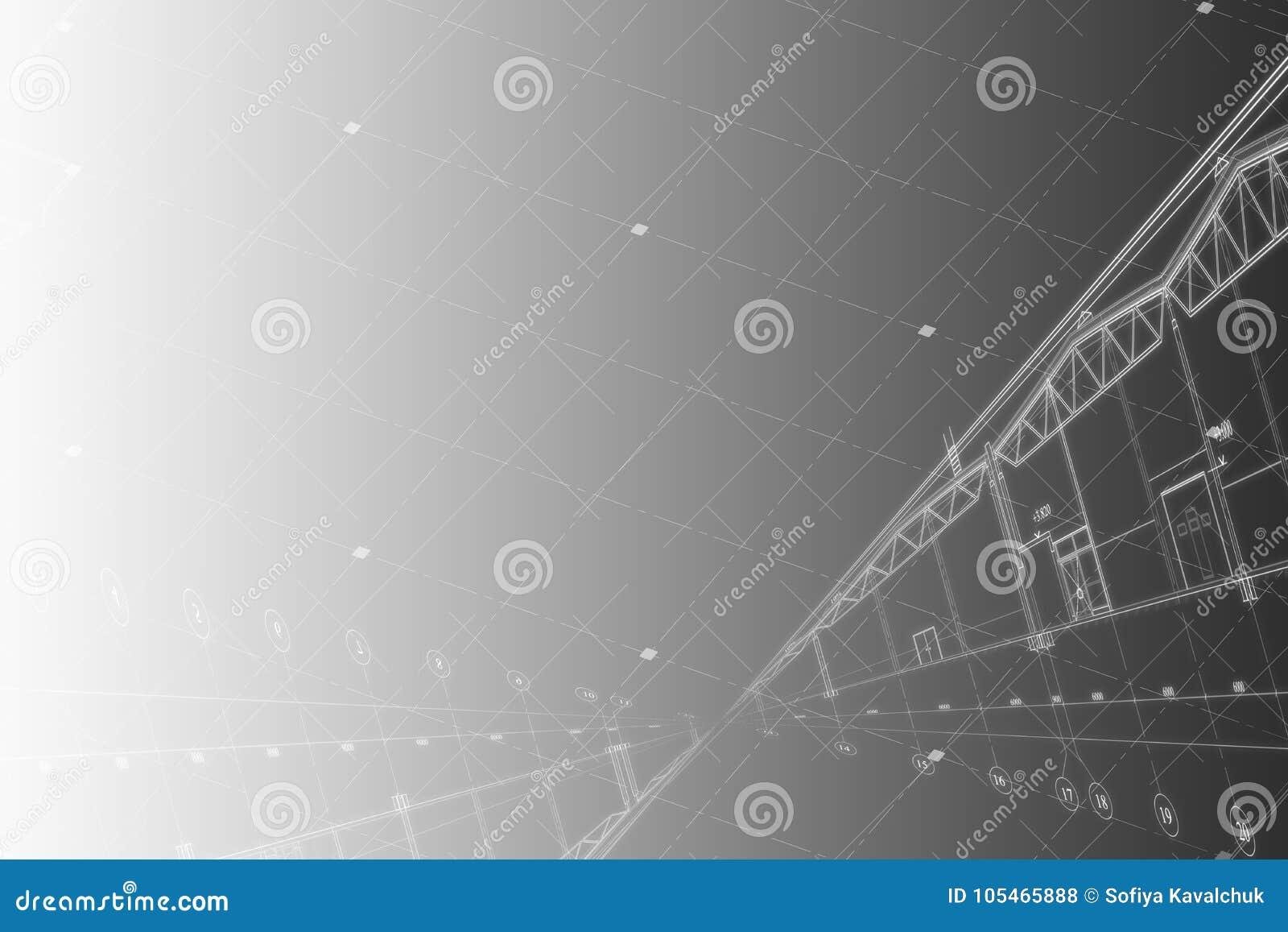 Fondo - dibujo arquitectónico del edificio industrial