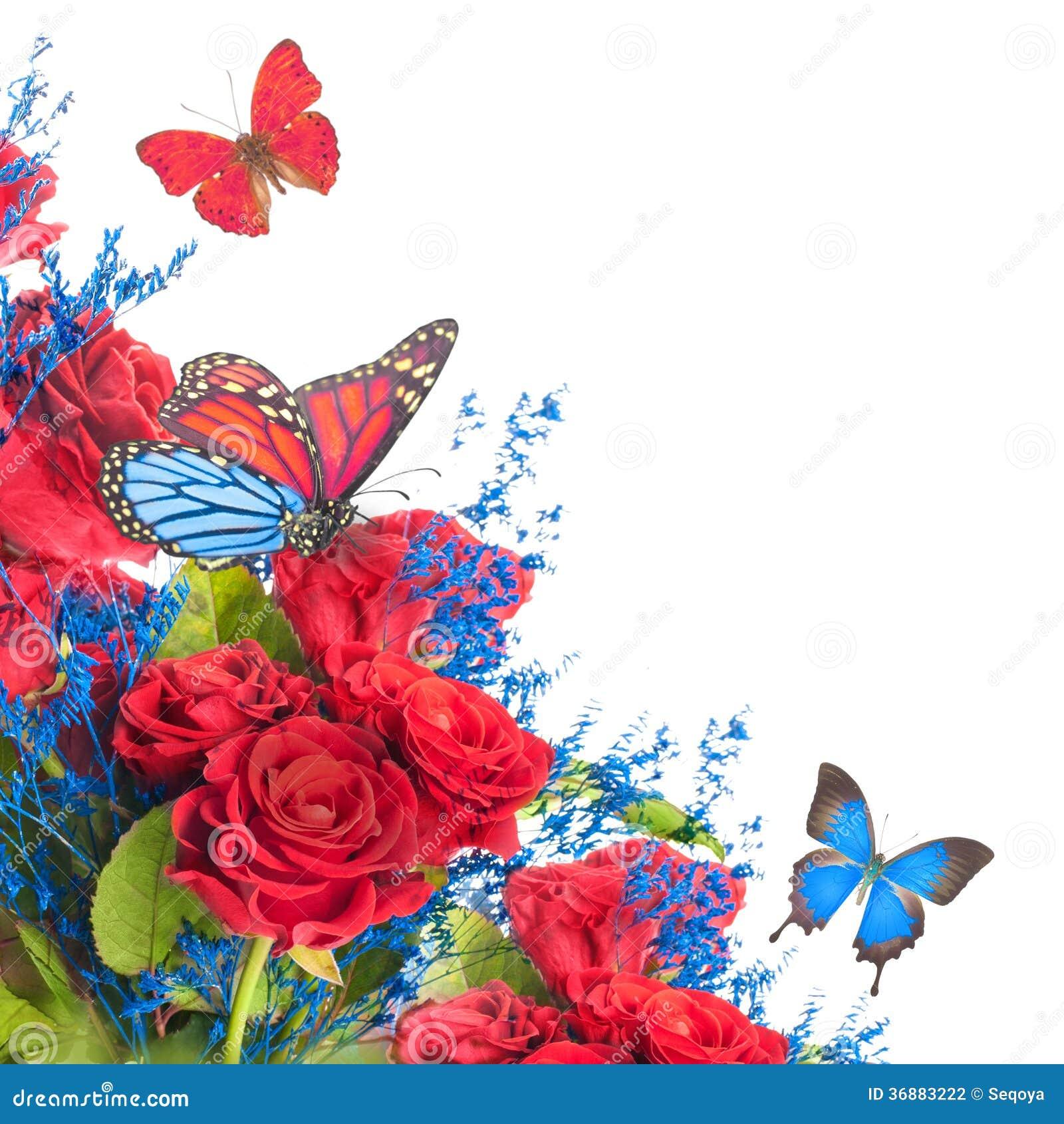 Download Fondo e farfalla floreali fotografia stock. Immagine di bellezza - 36883222