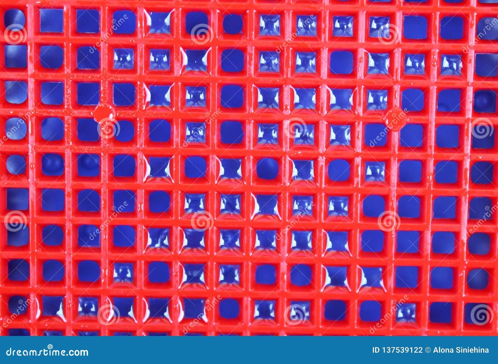 Fondo e struttura blu rossi con le goccioline di acqua