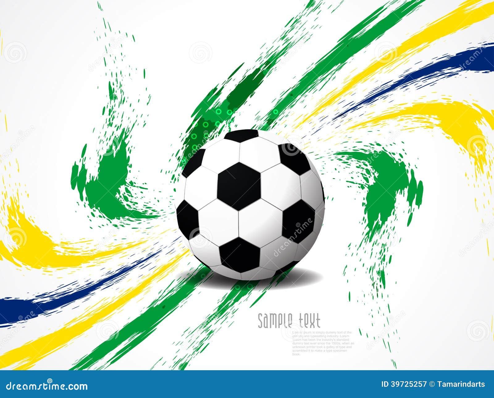 Fondo elegante creativo del fútbol con el chapoteo del grunge de los colores del Brasil.