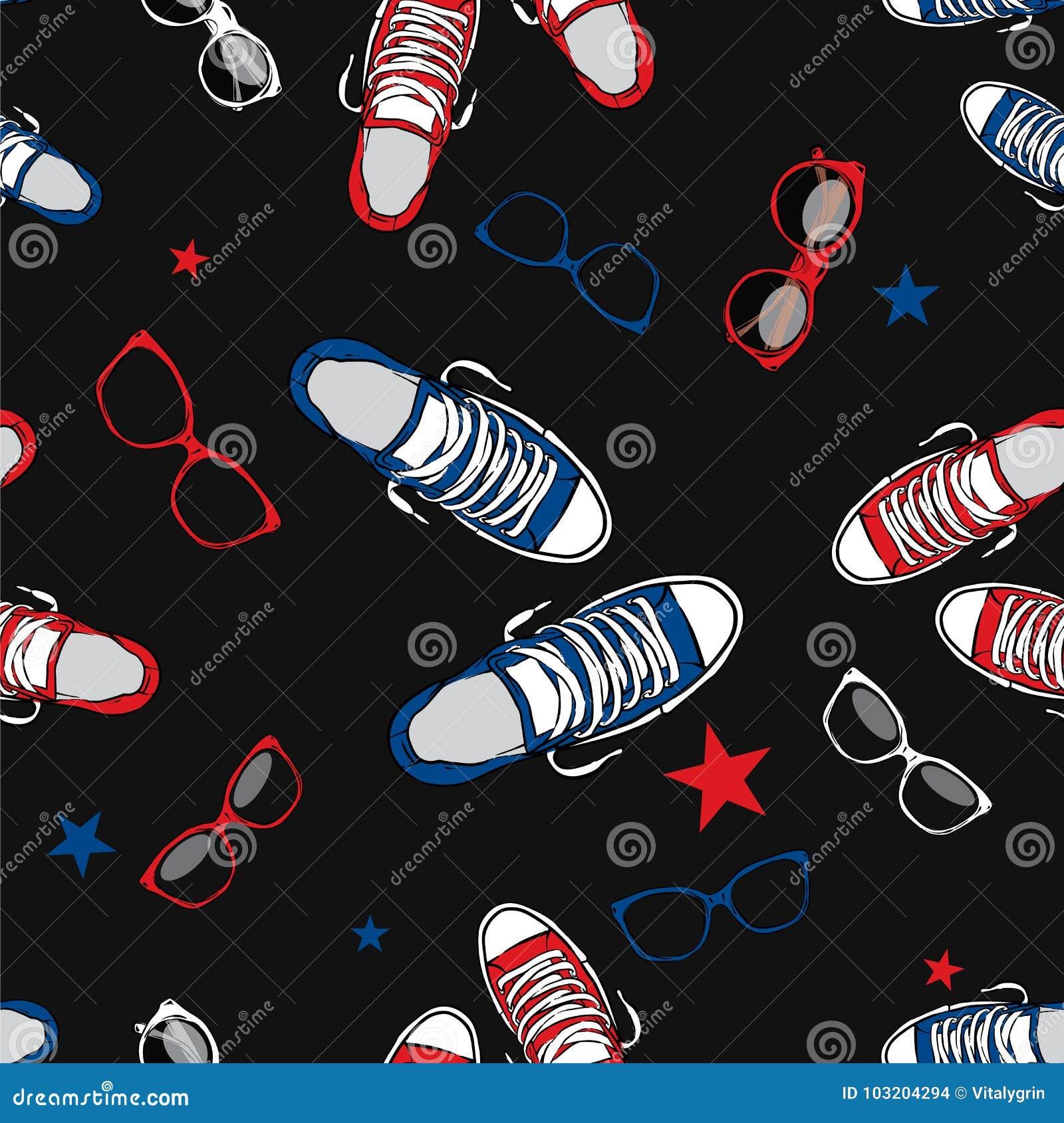 ecdd04619d Fondo elegante de zapatillas de deporte y de vidrios Ilustración del vector  Zapatos