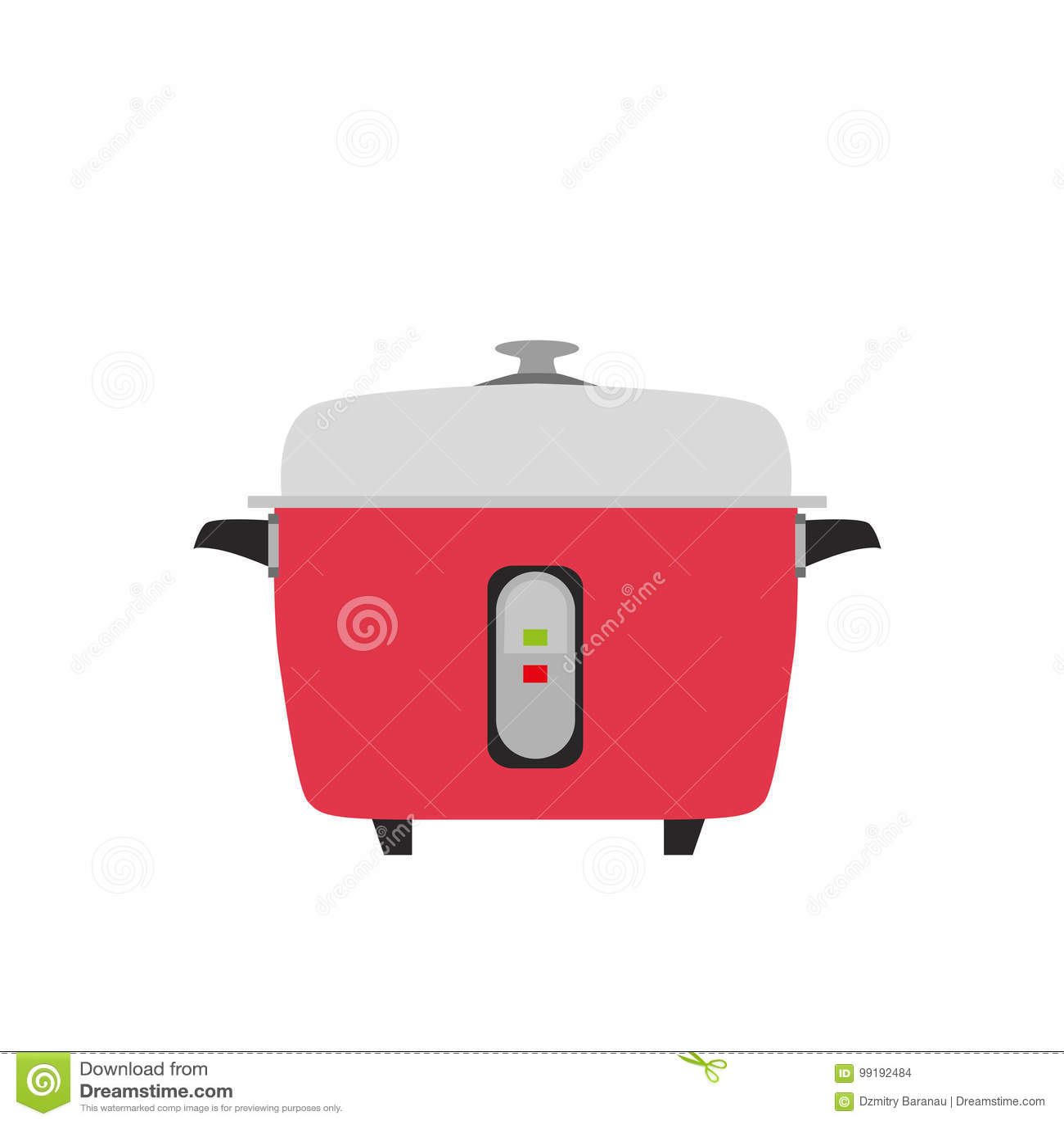 Fondo elettrico dell oggetto del vaso dell alimento della cucina dell illustrazione di vettore del riso del fornello