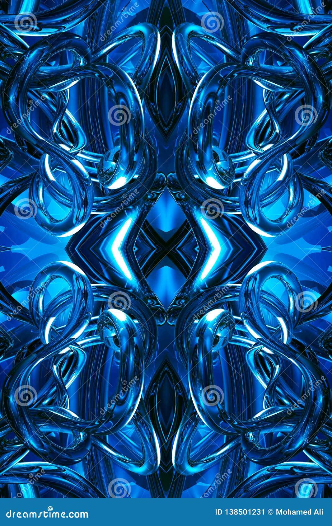 Fondo enérgico futurista azul generado por ordenador único artístico de las ilustraciones de los fractales 3d del extracto
