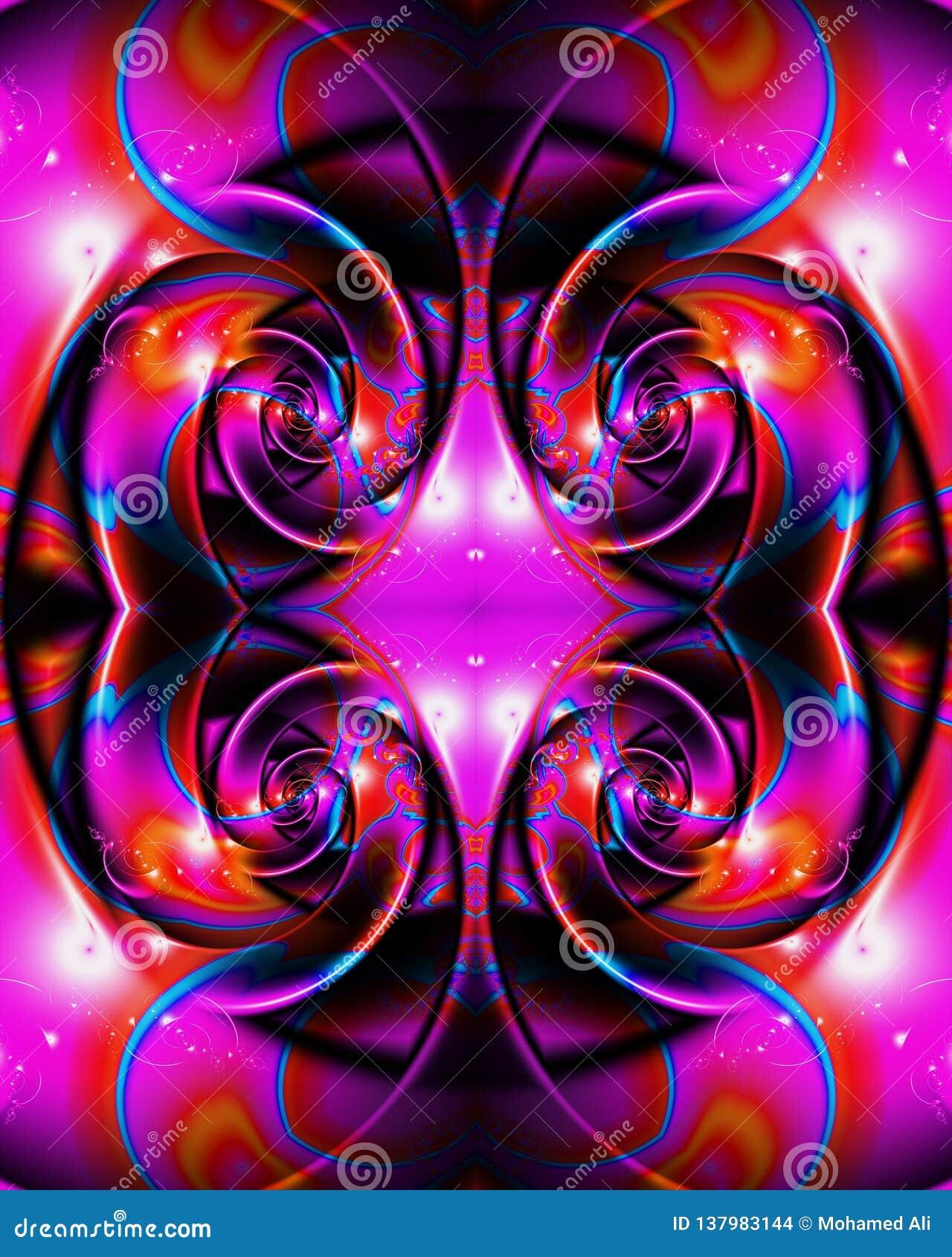 Fondo enérgico multicolor único artístico generado por ordenador de las ilustraciones de los modelos del fractal del extracto que
