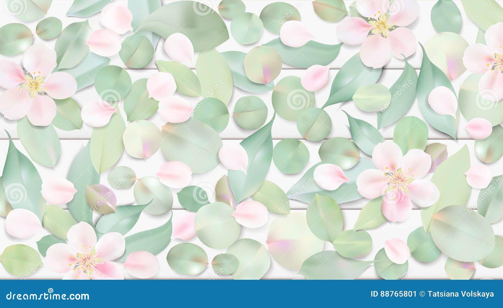 Fondo En Colores Pastel Con Las Hojas De La Flor Ilustración del ...
