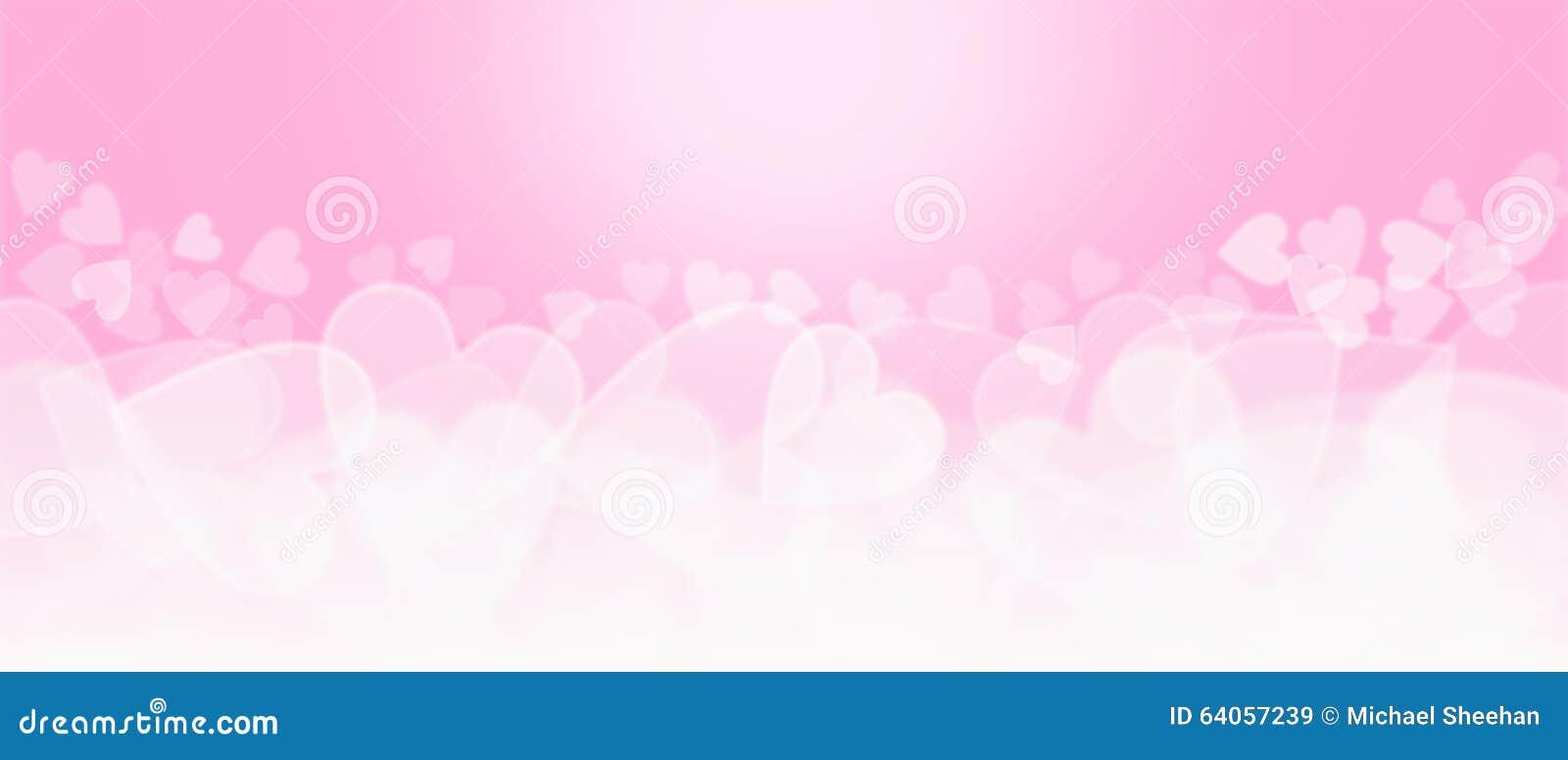 Fondo en forma de corazón del rosa y blanco de Bokeh