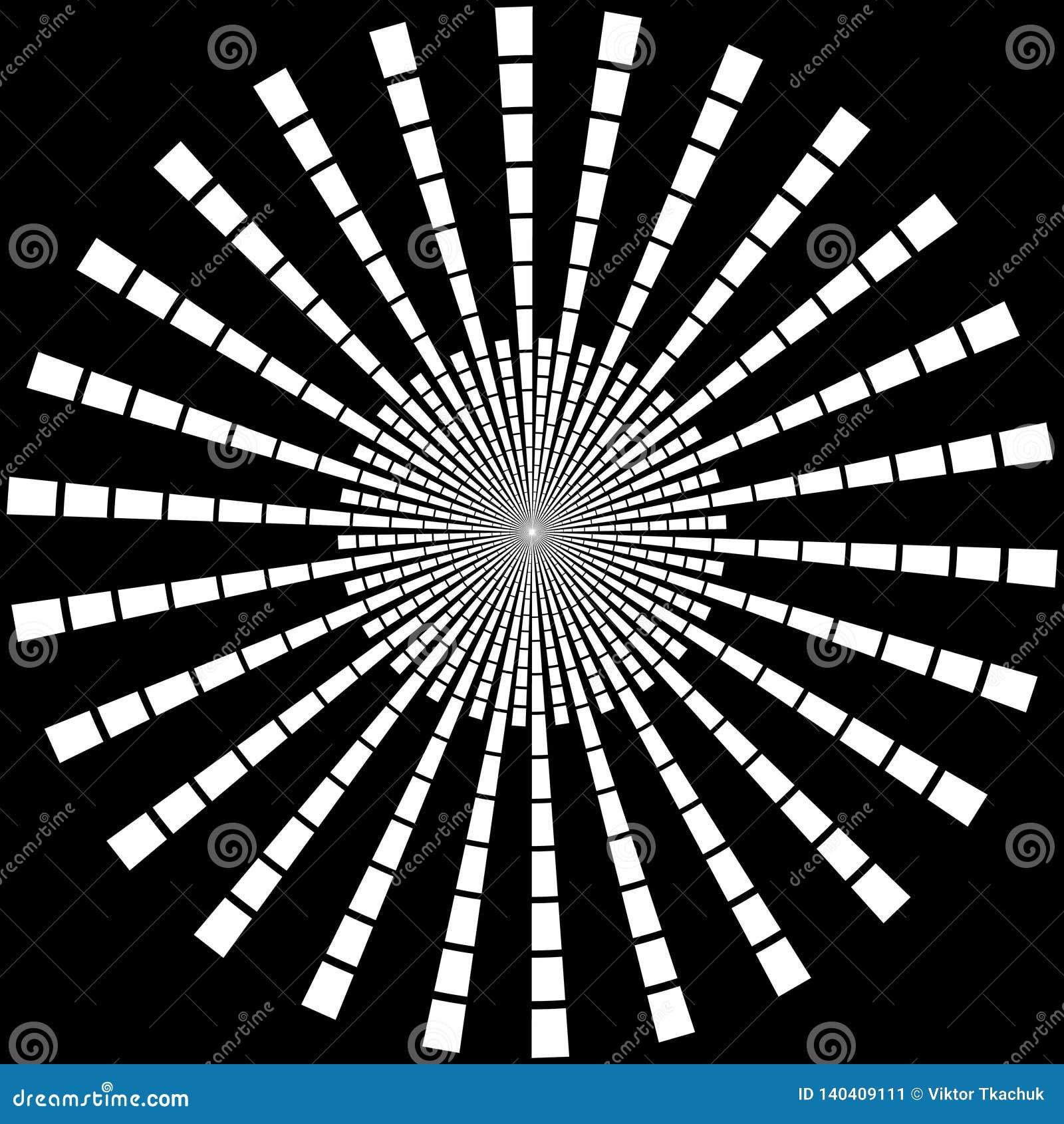 Fondo en la forma de rayos blancos bajo la forma de círculo en un negro