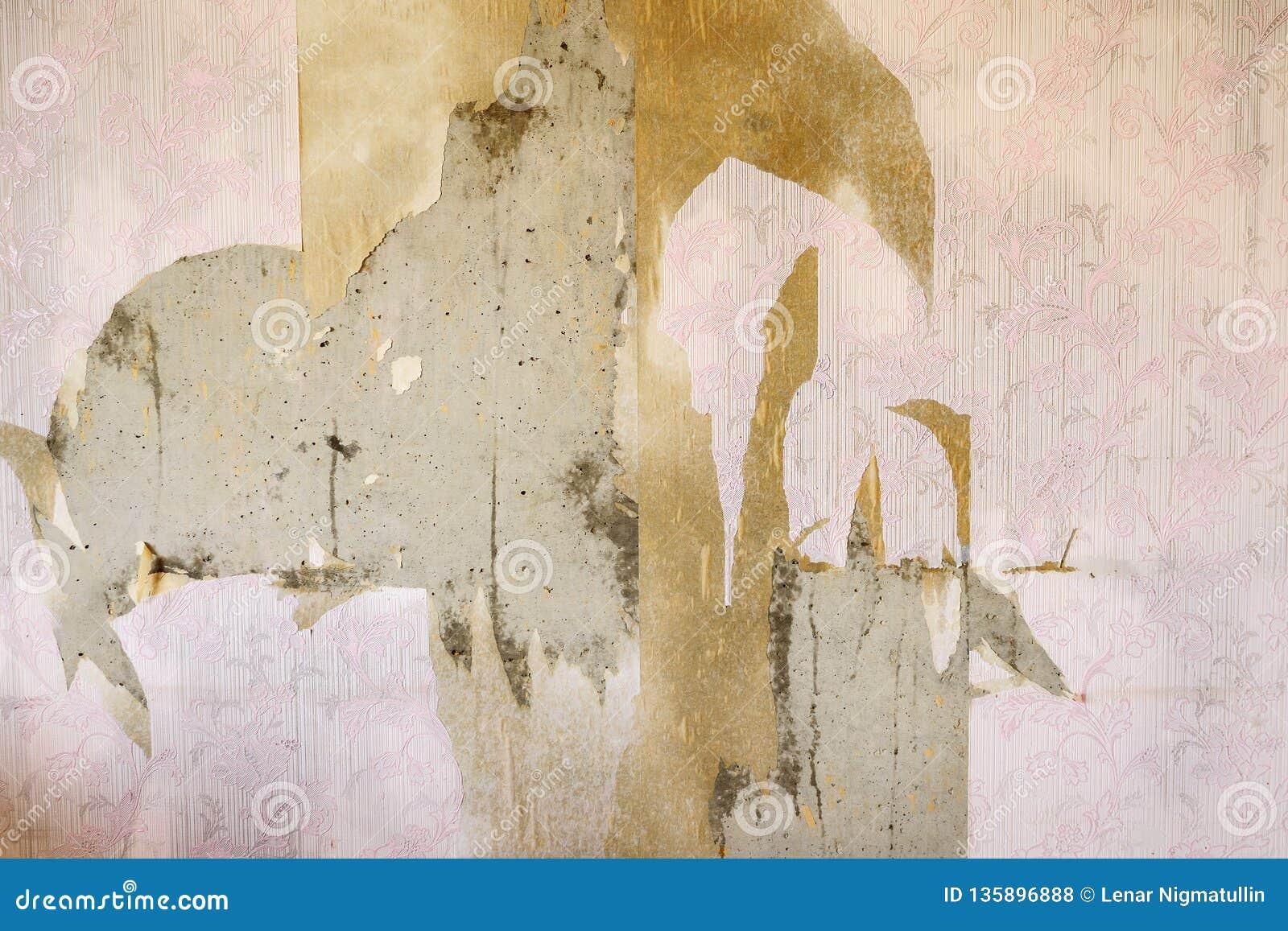 Fondo envejecido de la pared del sitio con el papel pintado rasgado del vintage