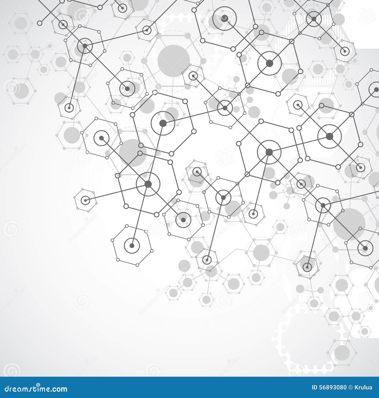 Fondo esagonale di tecnologia luminosa bianca astratta Connectio