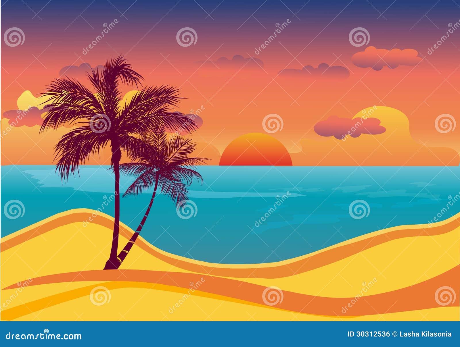 Tramonto tropicale della spiaggia immagine stock libera da for Disegno della casa sulla spiaggia