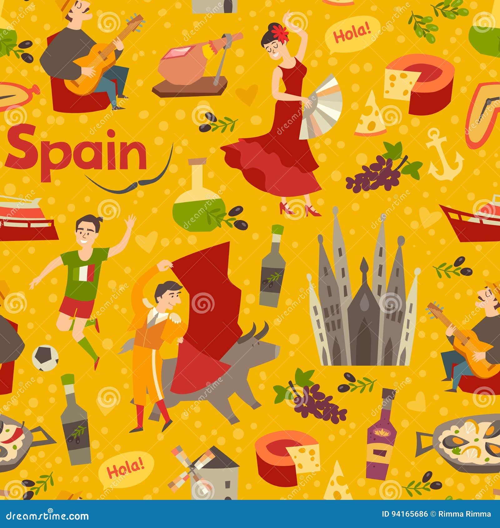 ... español del vector del modelo de la señal Contexto del drenaje de la mano con el icono de España Modelo inconsútil abstracto de la historieta Wallpaper ...