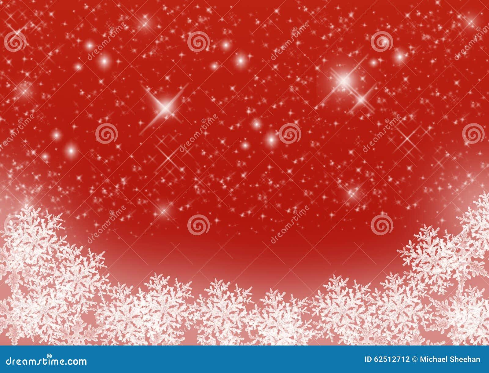Fondo estrellado rojo de la Navidad con los copos de nieve