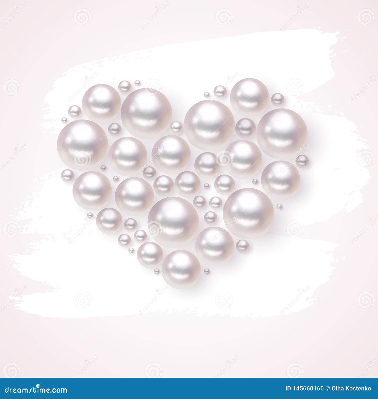 Fondo exhausto del splodge del vector del corazón de la perla a mano