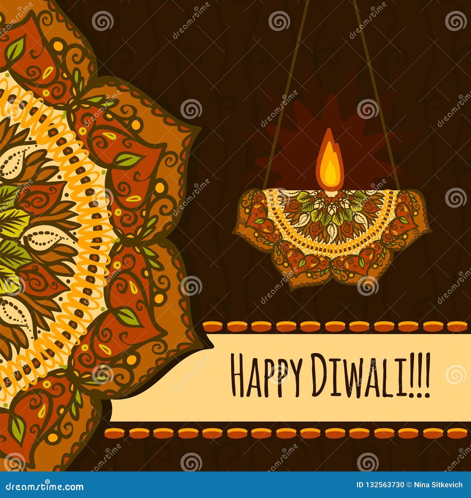 Fondo felice di concetto di festival di diwali, stile disegnato a mano