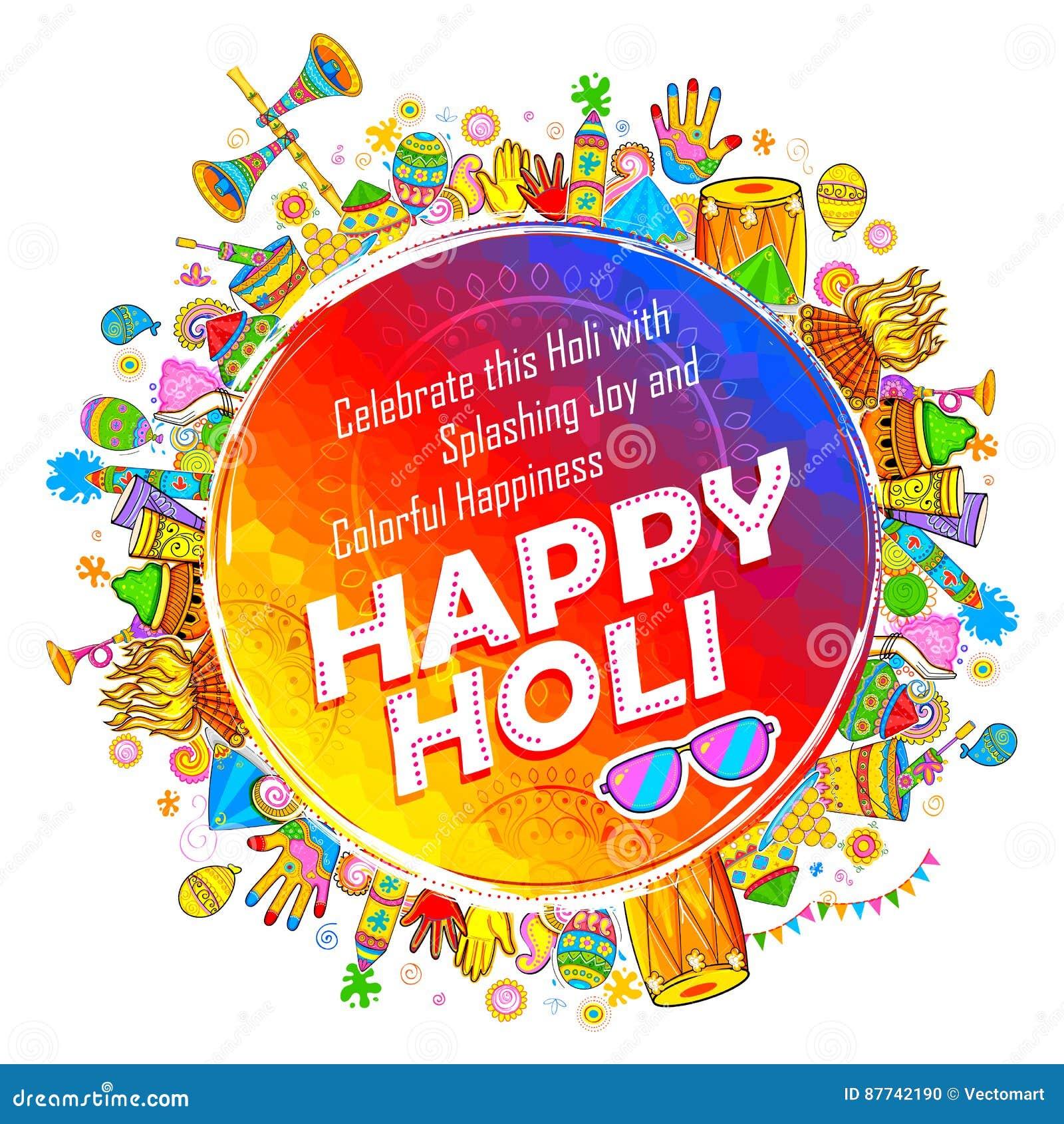 Fondo felice di Holi per il festival dei saluti di celebrazione di colori