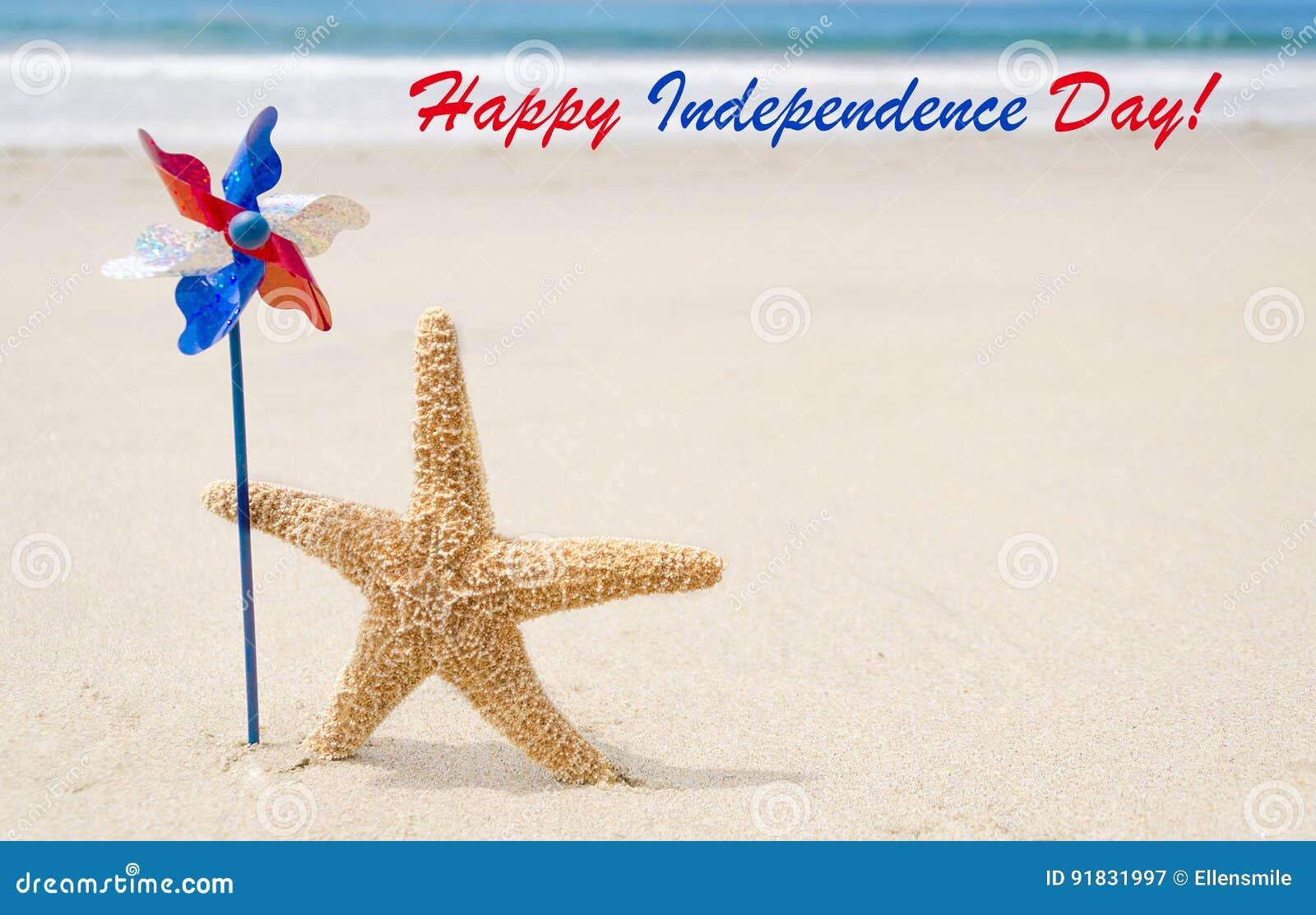 Fondo felice di U.S.A. di festa dell indipendenza con le stelle marine