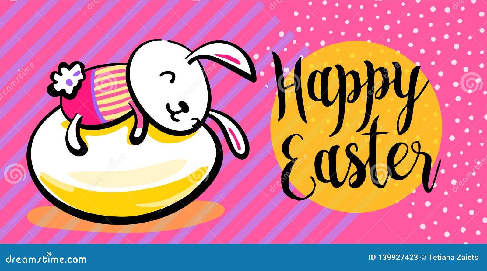Fondo feliz de la bandera del saludo de pascua con el conejito vestido lindo en el huevo, abrazándolo Textura rayado y de los pun