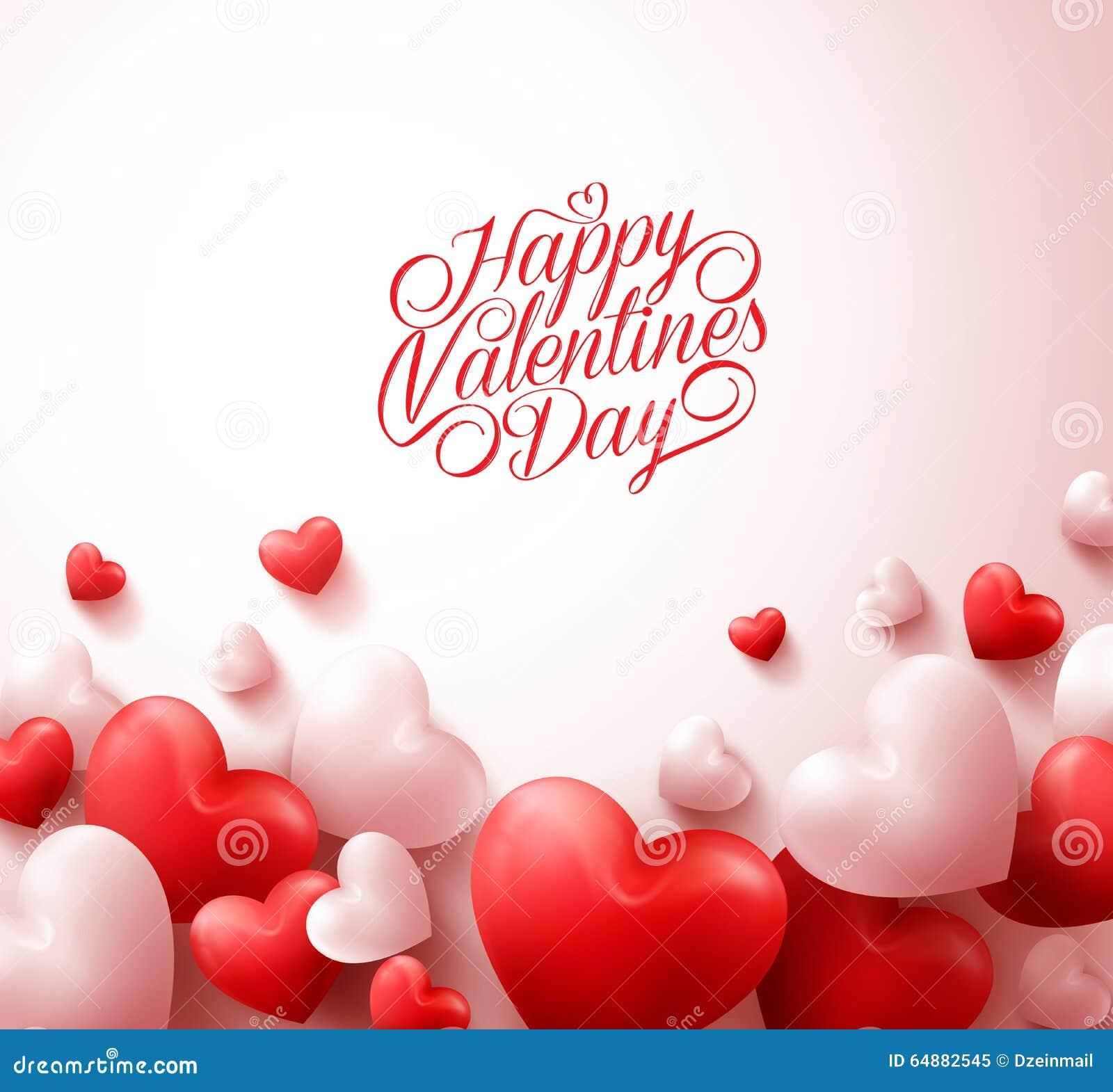 Fondo feliz del día de tarjetas del día de San Valentín con los corazones rojos realistas 3D