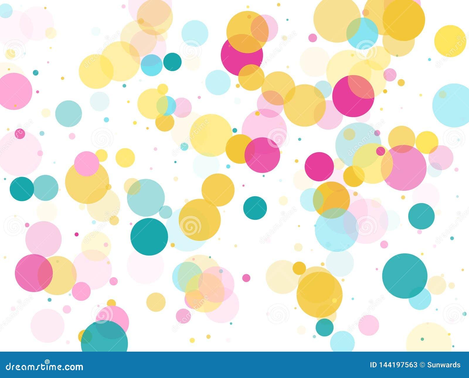 Fondo festivo dei coriandoli rotondi di Memphis in ciano blu, rosa e giallo Vettore puerile del modello