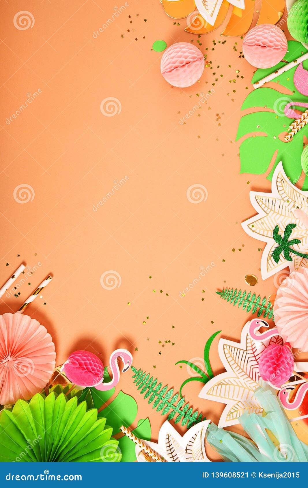 Fondo festivo Tema tropical hawaii Partido, cumpleaños Visión desde arriba Endecha plana
