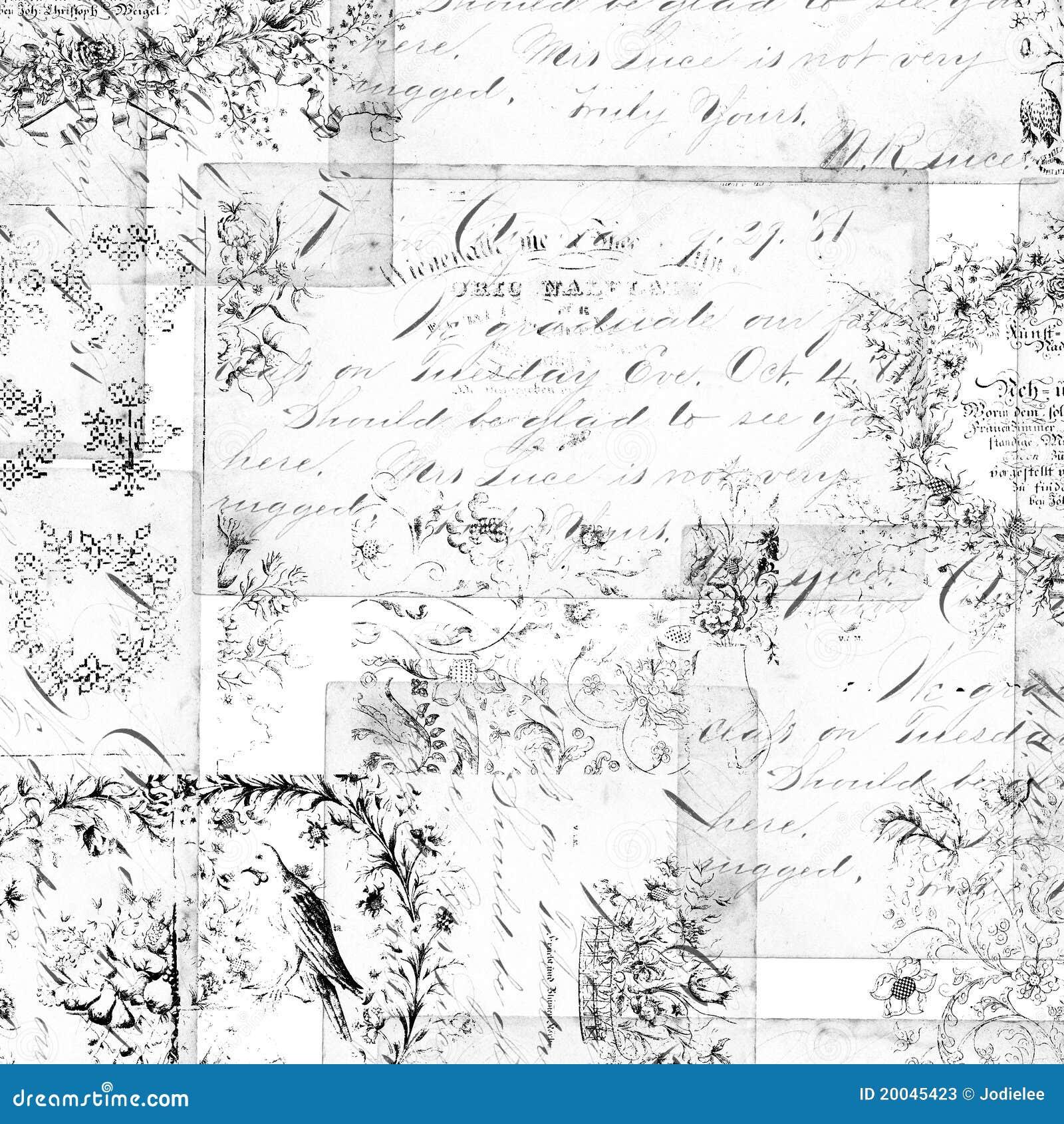 Fondo floral antiguo de los montajes o del collage