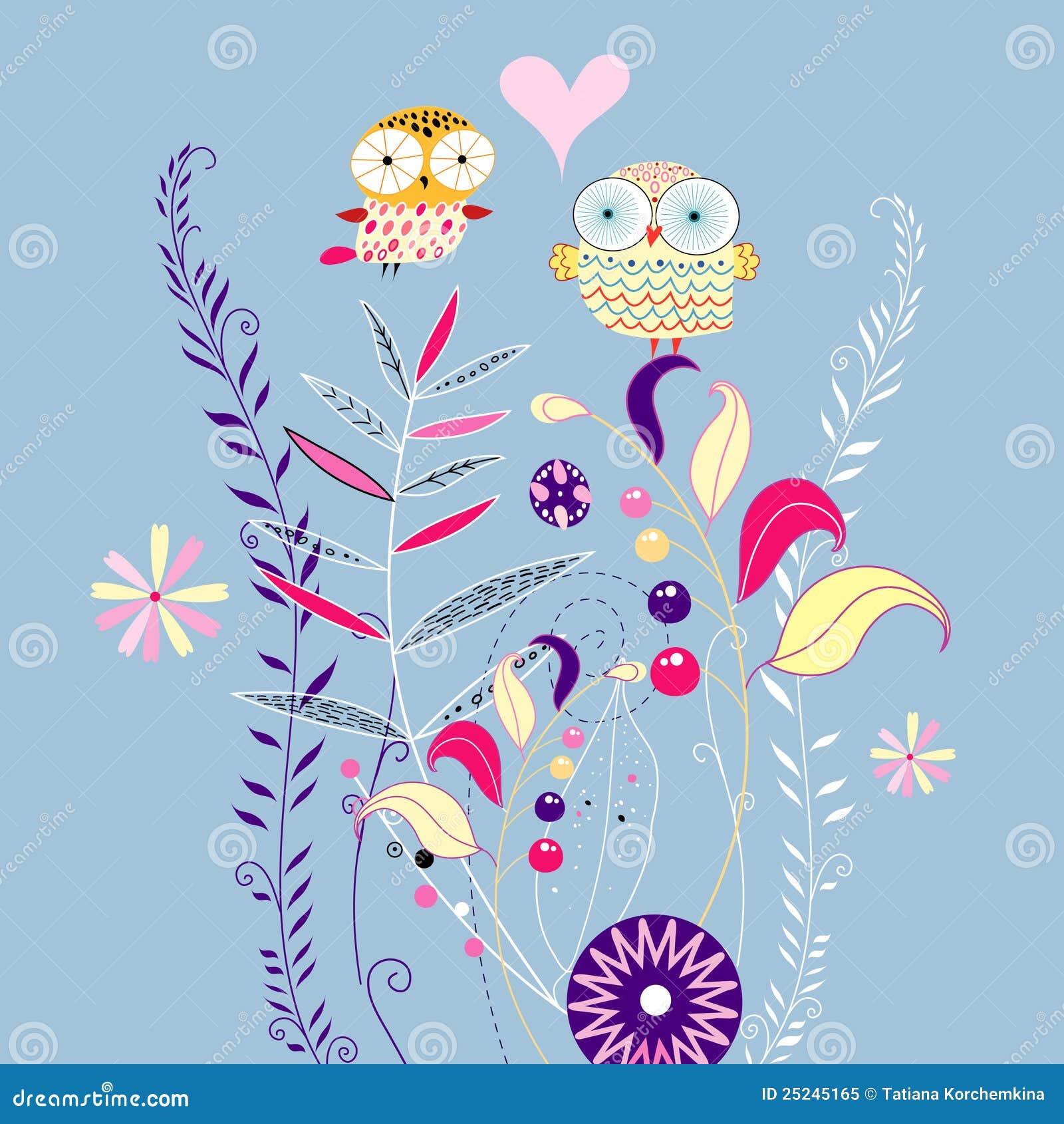 Fondo Floral Con Los Buhos Ilustracion Del Vector Ilustracion De
