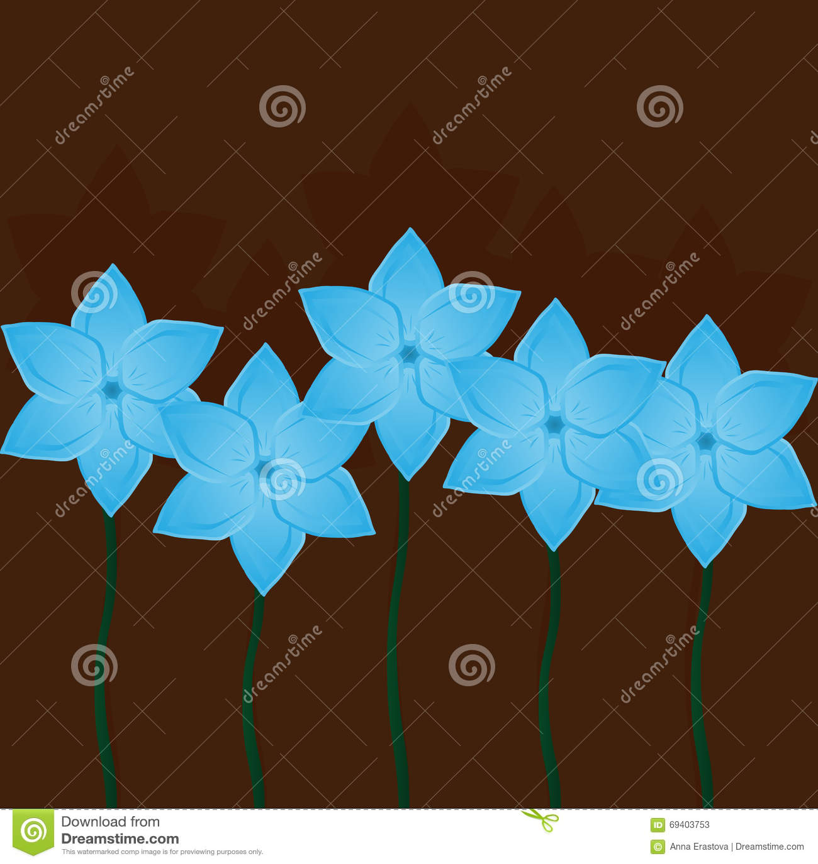 Fondo Floral Cuadrado Flores Azules En Marron Ilustracion Del Vector