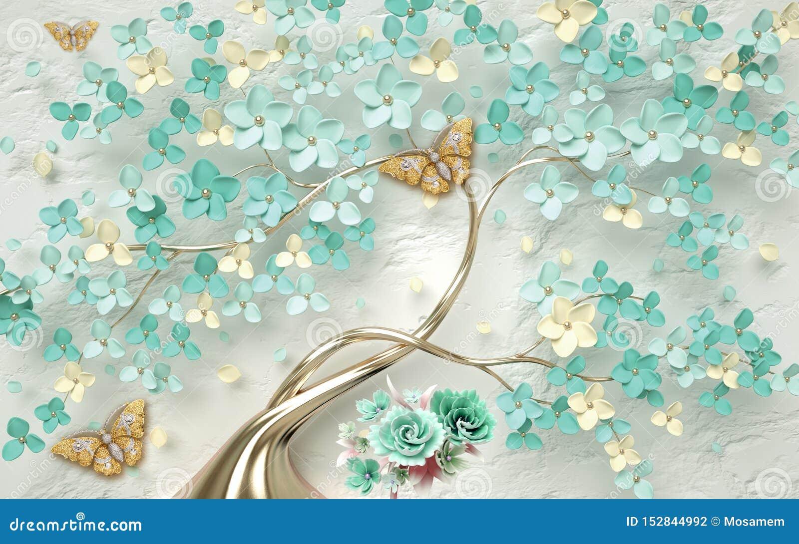 Fondo floral del extracto del papel pintado 3d con las flores verdes y la mariposa de oro