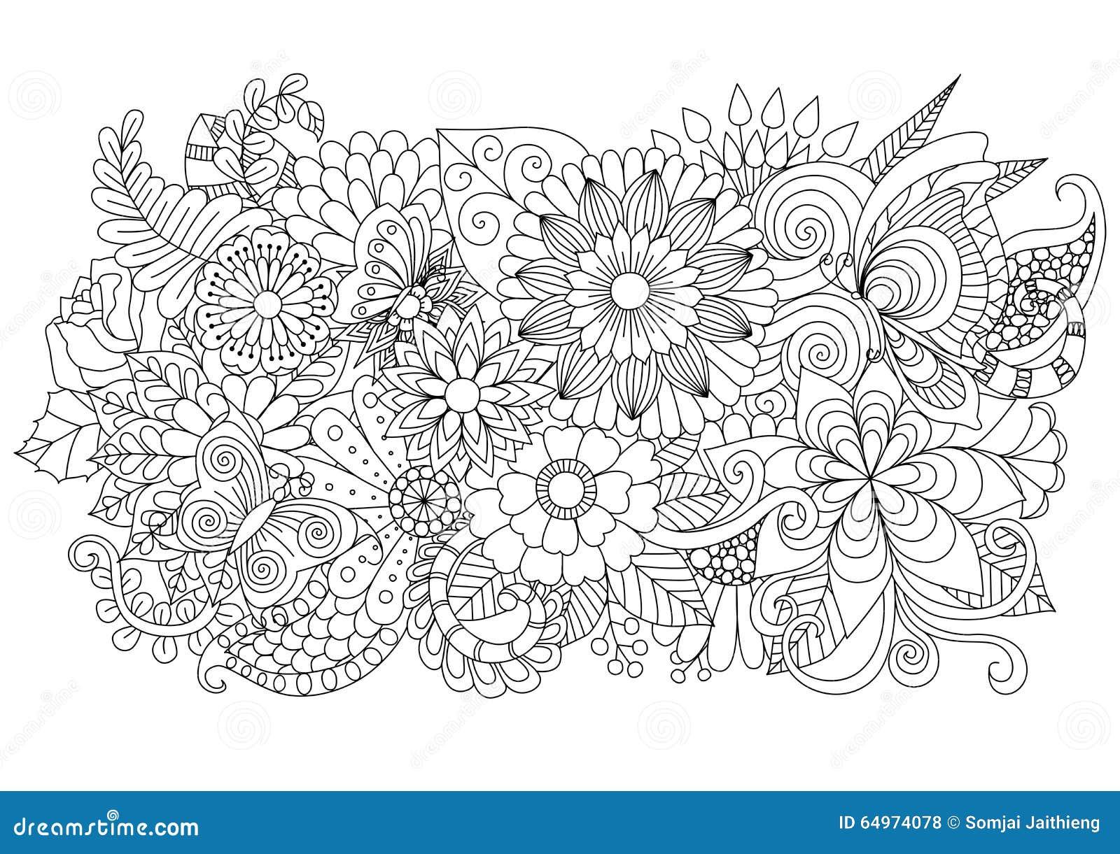 Fondo floral dibujado mano del zentangle para la página que colorea y otras decoraciones