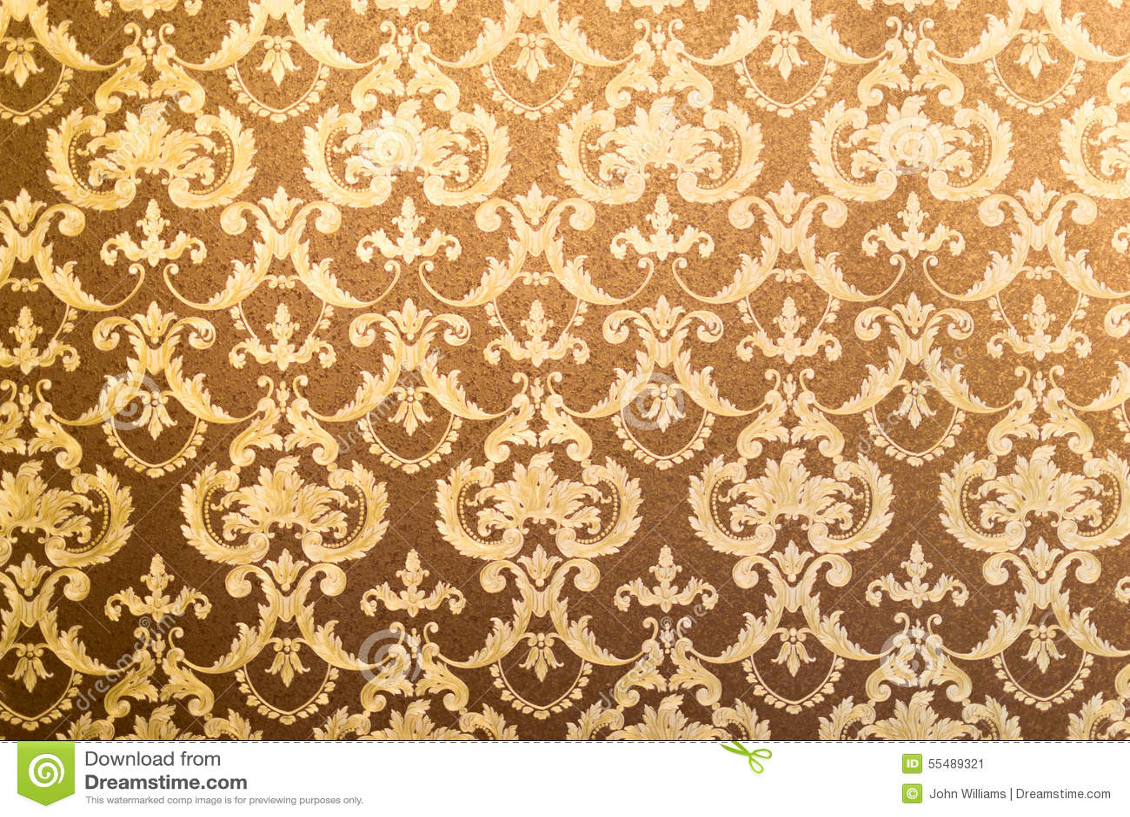Fondo floral dorado de la pared imagen de archivo imagen for Papel de pared dorado