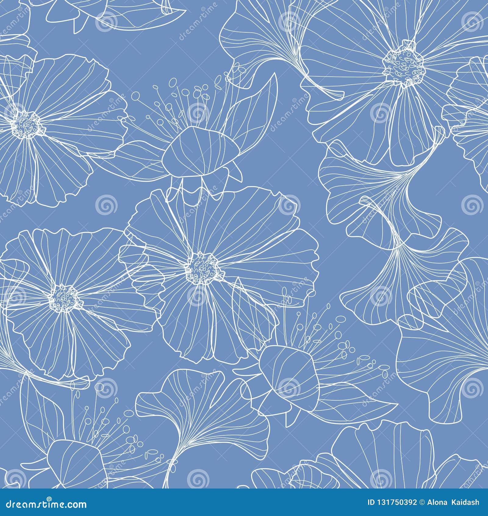 Fondo floral linear, modelo de flores
