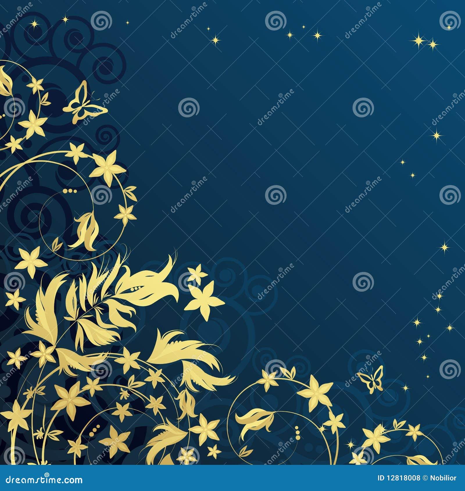 Fondo floral mágico con los curles de oro.