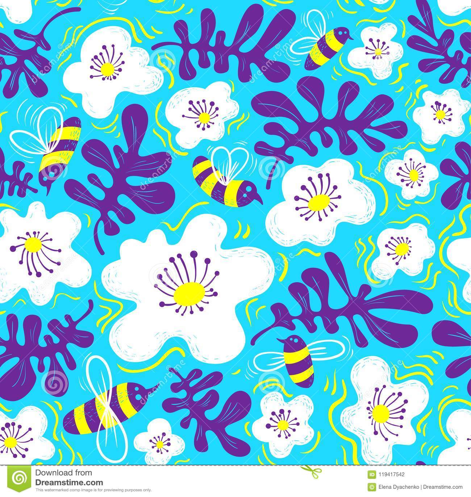Fondo floral Modelo inconsútil con la abeja y la flor en doodl
