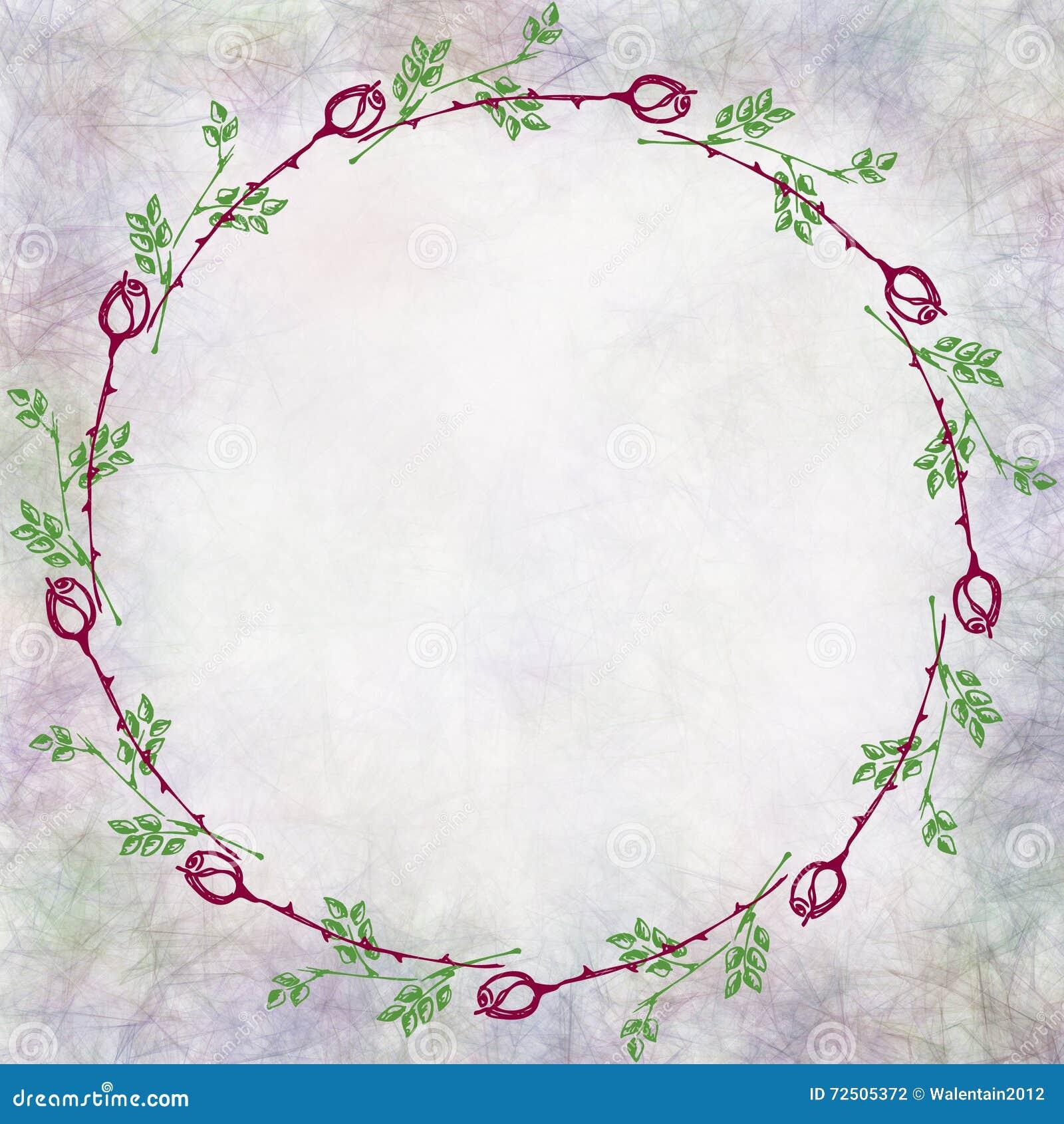 Fondo Floral Texturizado Dibujado Mano Tarjeta Del Vintage Con Las ...