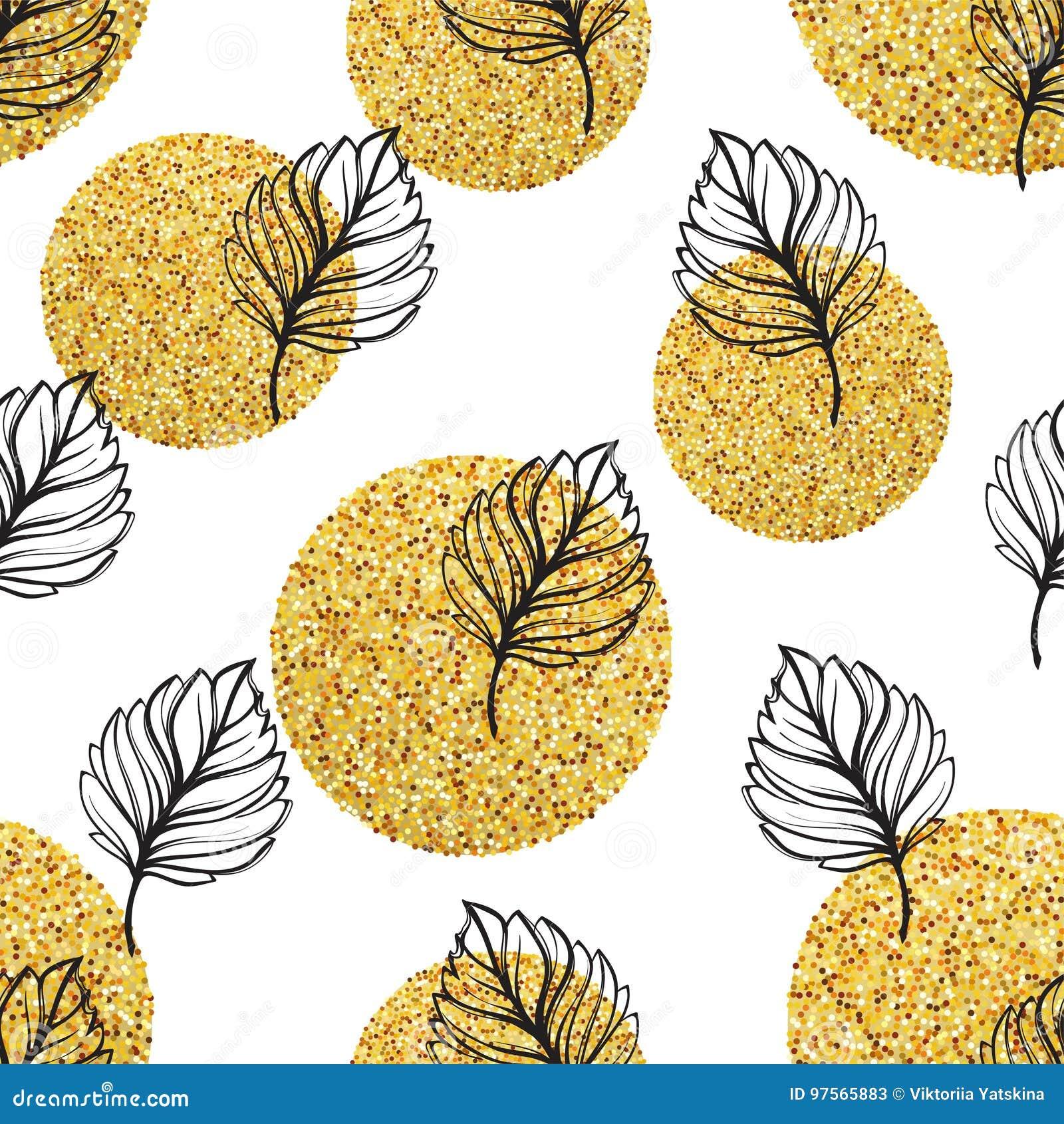Fondo floreale di autunno dell oro Lo scintillio ha strutturato il modello senza cuciture con la foglia dorata e nera di caduta I