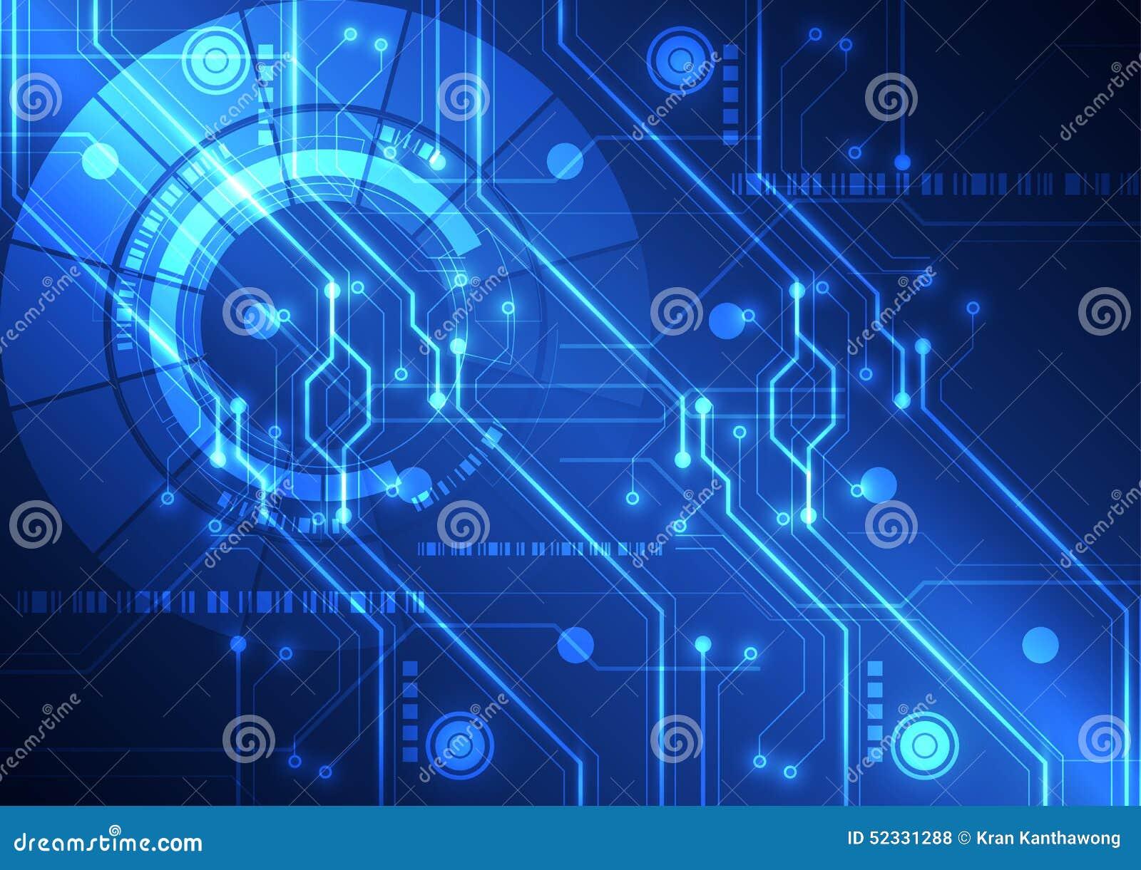 Fondo futurista abstracto de la placa de circuito de la tecnología, ejemplo del vector