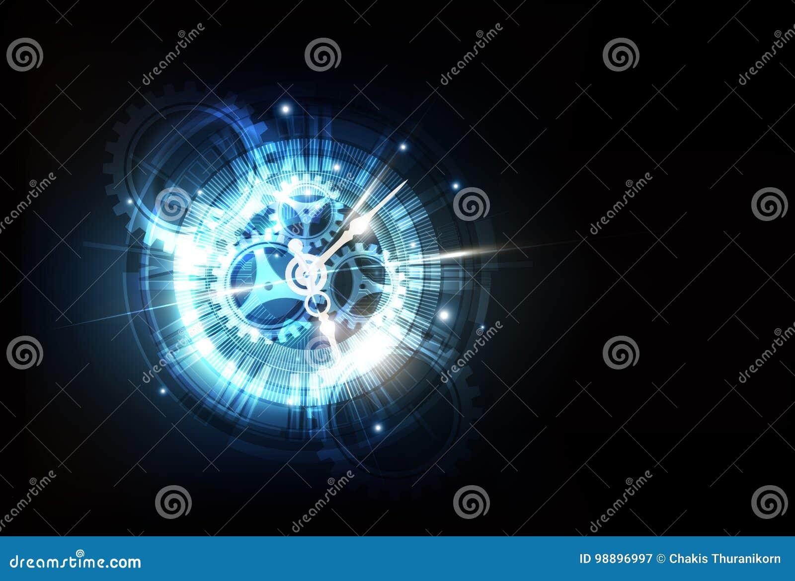 Fondo futurista abstracto de la tecnología con la máquina del concepto y de tiempo del reloj, vector
