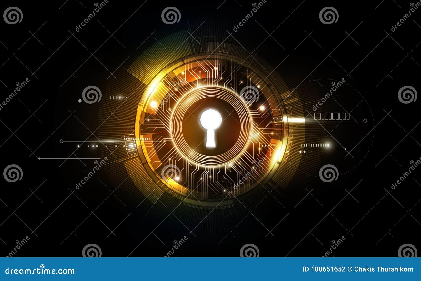 Fondo futurista de la tecnología del extracto del ojo de la cerradura del resplandor con ligero y brillante, llave de la solución