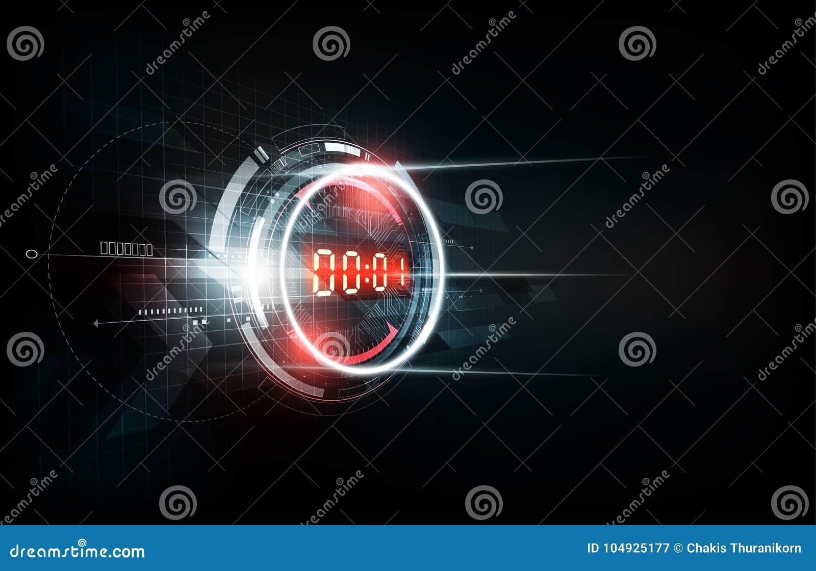Fondo futuristico astratto di tecnologia con il concetto del temporizzatore di numero di Digital ed il conto alla rovescia, illus