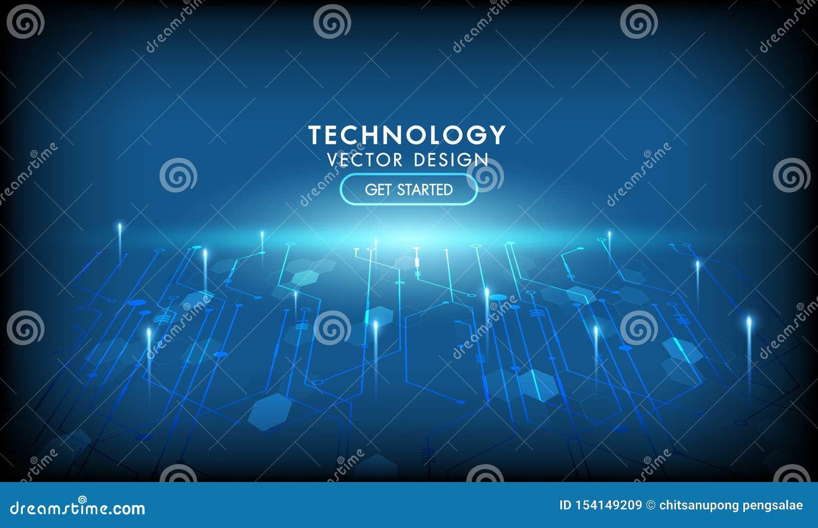 Fondo futuristico dell estratto di vettore della rete del collegamento a Internet Alto colore blu scuro di tecnologie informatich