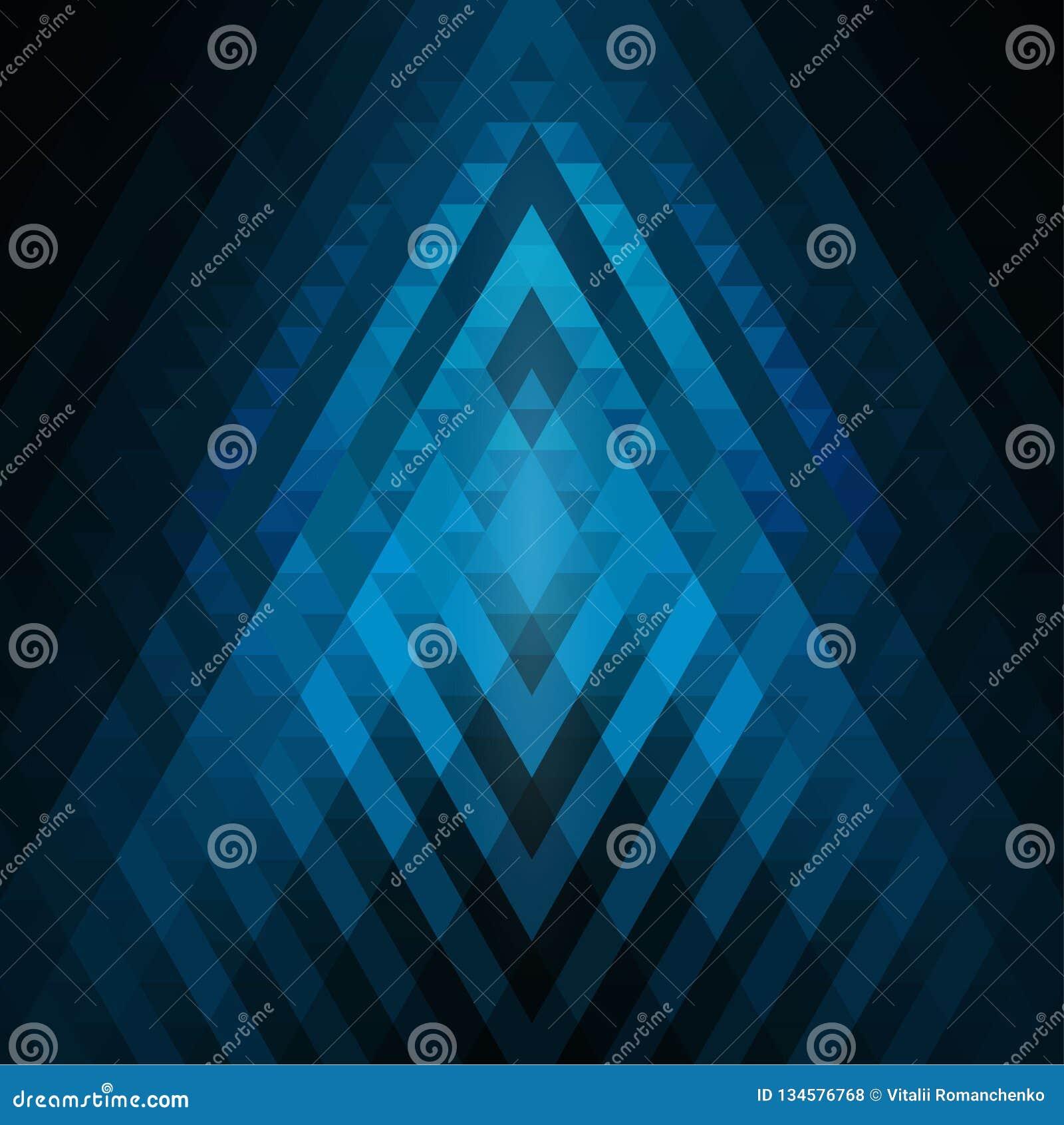 Fondo geométrico ciánico y azul abstracto de triángulos Mosaico colorido de formas simétricas Tonos y pendientes suaves del color