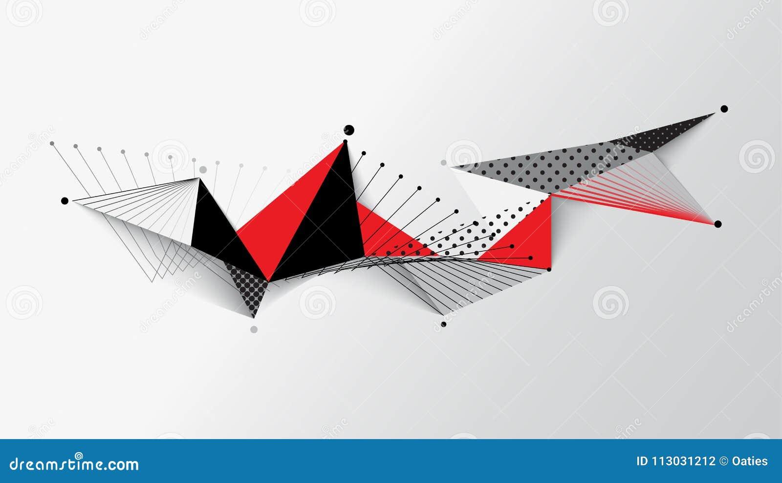 Fondo geométrico negro blanco rojo del extracto del modelo