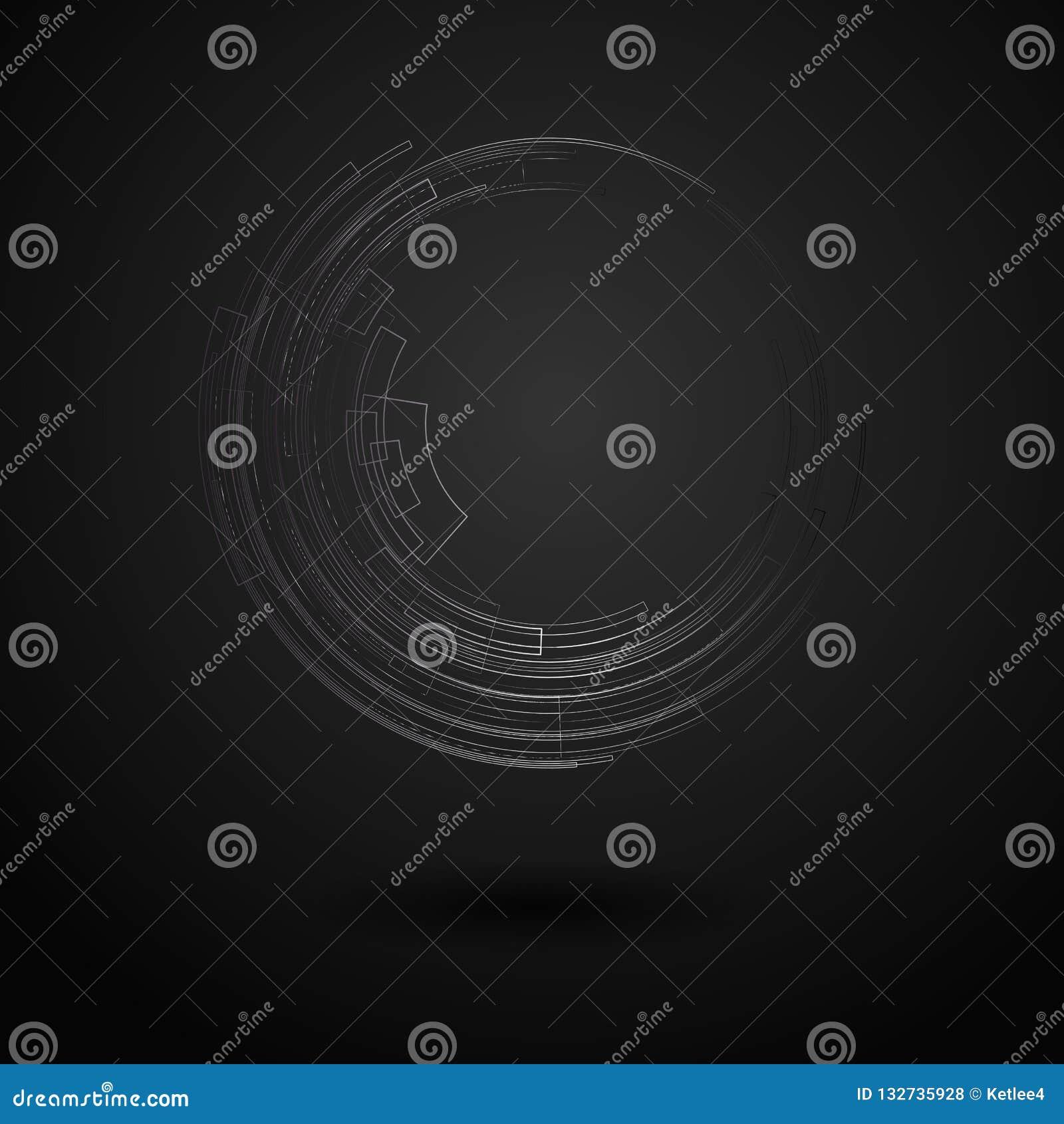 Fondo geometrico astratto con il cerchio luminoso del metallo dei cerchi concentrici sulle linee geometriche grafiche tecnologia
