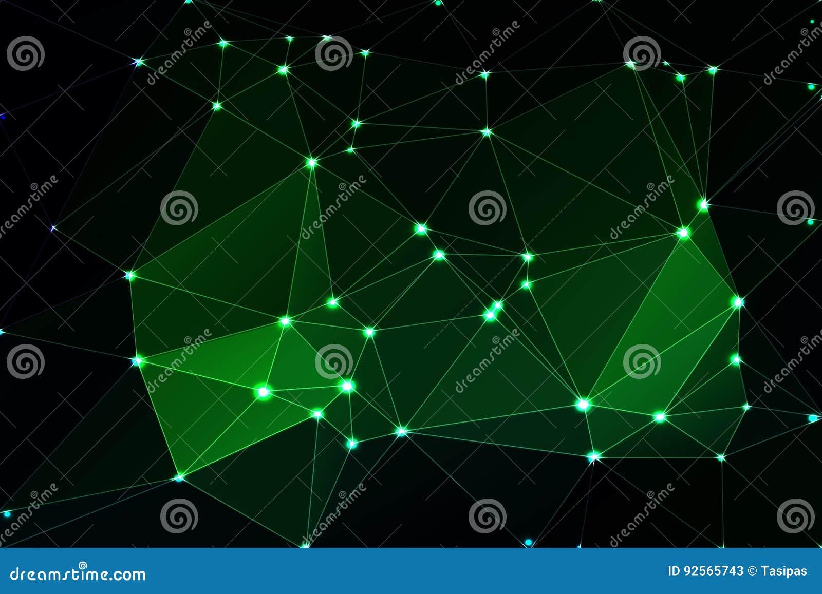 Fondo geometrico verde al neon d ardore con la maglia e le luci