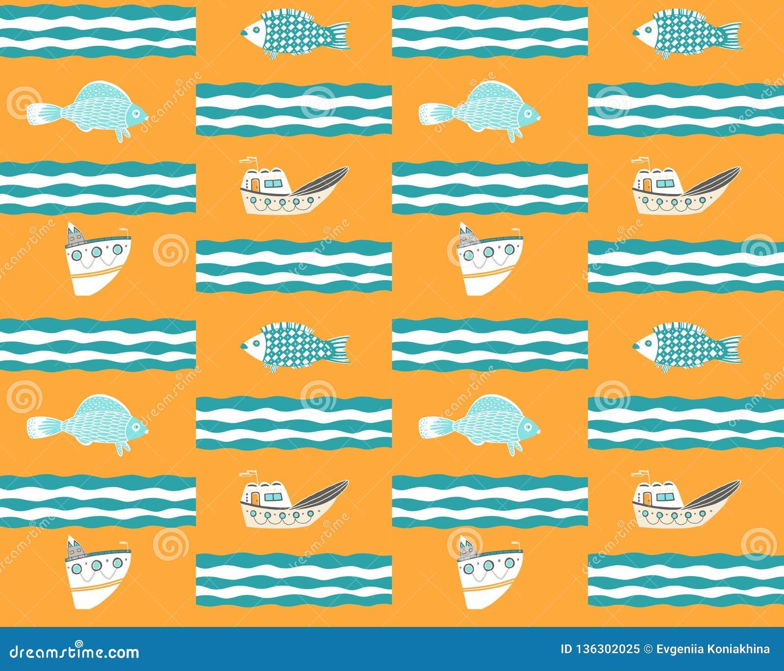 Fondo giallo senza cuciture con le navi, il pesce e le onde