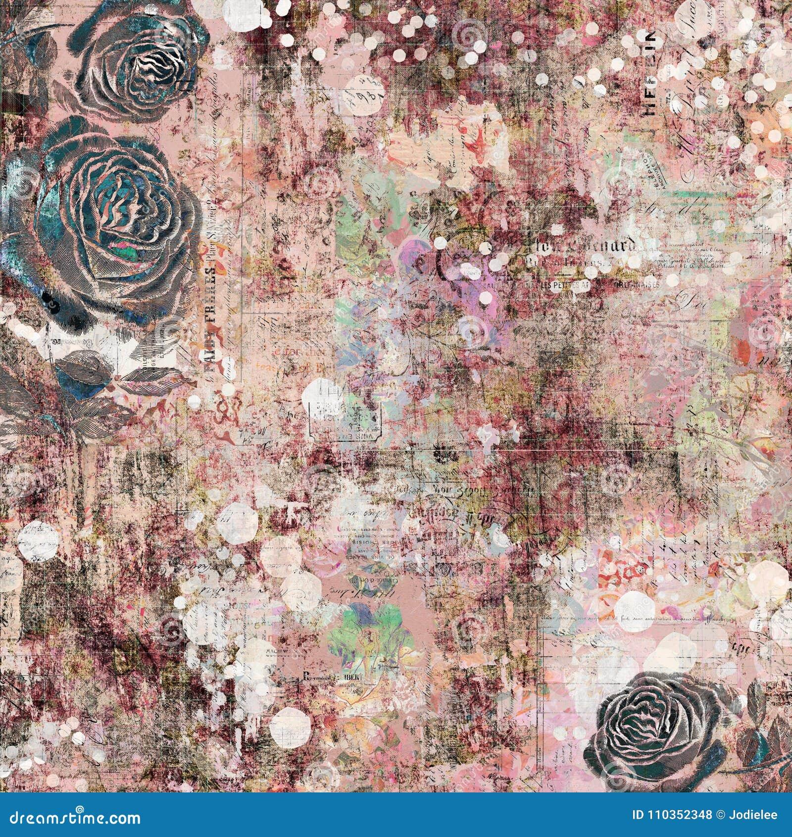 Fondo grafico astratto artistico elegante misero grungy d annata antico floreale zingaresco della Boemia con le rose